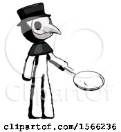 Ink Plague Doctor Man Frying Egg In Pan Or Wok Facing Right