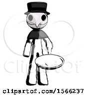Ink Plague Doctor Man Frying Egg In Pan Or Wok