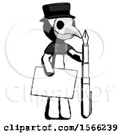 Ink Plague Doctor Man Holding Large Envelope And Calligraphy Pen