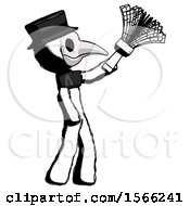 Ink Plague Doctor Man Dusting With Feather Duster Upwards