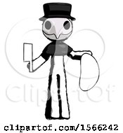Ink Plague Doctor Man Holding Large Steak With Butcher Knife