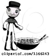 Ink Plague Doctor Man And Noodle Bowl Giant Soup Restaraunt Concept