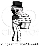 Ink Plague Doctor Man Holding Large Cupcake Ready To Eat Or Serve