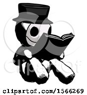 Poster, Art Print Of Ink Plague Doctor Man Reading Book While Sitting Down