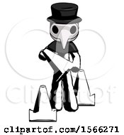Ink Plague Doctor Man Holding A Traffic Cone