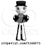 Poster, Art Print Of Ink Plague Doctor Man Reading Book While Standing Up Facing Viewer