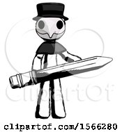 Ink Plague Doctor Man Writer Or Blogger Holding Large Pencil