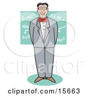 Nerdy Man Standing In Front Of Mathetmatical Equations On A Chalkboard Clipart Illustration by Andy Nortnik