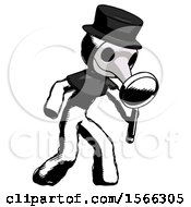 Ink Plague Doctor Man Inspecting With Large Magnifying Glass Right