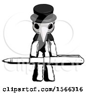 Ink Plague Doctor Man Weightlifting A Giant Pen