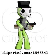 May 24th, 2018: Green Plague Doctor Man Tommy Gun Gangster Shooting Pose by Leo Blanchette