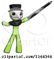 Green Plague Doctor Man Demonstrating That Indeed The Pen Is Mightier