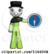 Green Plague Doctor Man Holding A Large Compass