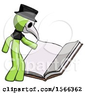 Poster, Art Print Of Green Plague Doctor Man Reading Big Book While Standing Beside It