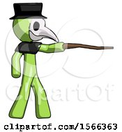 Green Plague Doctor Man Pointing With Hiking Stick