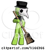 Green Plague Doctor Man Sweeping Area With Broom