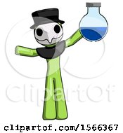 Green Plague Doctor Man Holding Large Round Flask Or Beaker