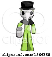 Green Plague Doctor Man Begger Holding Can Begging Or Asking For Charity