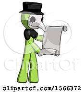 Green Plague Doctor Man Holding Blueprints Or Scroll