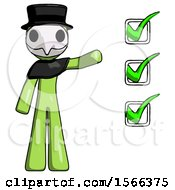 Green Plague Doctor Man Standing By List Of Checkmarks