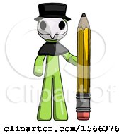 Green Plague Doctor Man With Large Pencil Standing Ready To Write