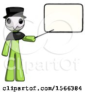Green Plague Doctor Man Giving Presentation In Front Of Dry Erase Board