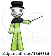 Green Plague Doctor Man Teacher Or Conductor With Stick Or Baton Directing