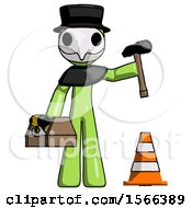 Green Plague Doctor Man Under Construction Concept Traffic Cone And Tools