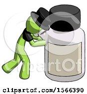 Green Plague Doctor Man Pushing Large Medicine Bottle