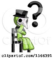 Green Plague Doctor Man Question Mark Concept Sitting On Chair Thinking