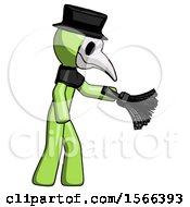Green Plague Doctor Man Dusting With Feather Duster Downwards