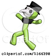 Green Plague Doctor Man Running Away In Hysterical Panic Direction Left