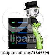 Green Plague Doctor Man Resting Against Server Rack Viewed At Angle
