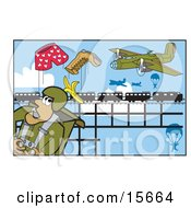 Male Parachuter Falling By A Plane And Watching As A Boot Banana And Pair Of Boxers Fly Out Of His Bag Instead Of A Parachute Clipart Illustration by Andy Nortnik