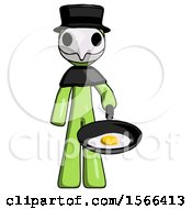 Green Plague Doctor Man Frying Egg In Pan Or Wok