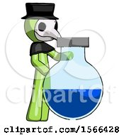 Green Plague Doctor Man Standing Beside Large Round Flask Or Beaker