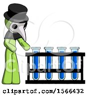 Green Plague Doctor Man Using Test Tubes Or Vials On Rack