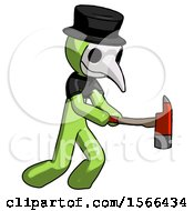 Green Plague Doctor Man With Ax Hitting Striking Or Chopping