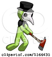 Green Plague Doctor Man Striking With A Red Firefighters Ax