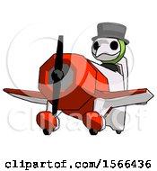 Green Plague Doctor Man Flying In Geebee Stunt Plane Viewed From Below