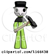 Green Plague Doctor Man Holding Hammer Ready To Work