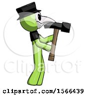 Green Plague Doctor Man Hammering Something On The Right