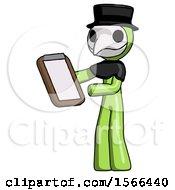 Green Plague Doctor Man Reviewing Stuff On Clipboard
