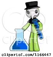 Green Plague Doctor Man Holding Test Tube Beside Beaker Or Flask