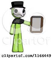 Green Plague Doctor Man Showing Clipboard To Viewer