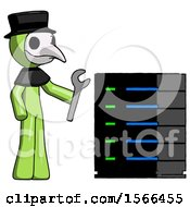 Green Plague Doctor Man Server Administrator Doing Repairs