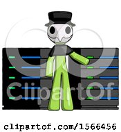 Green Plague Doctor Man With Server Racks In Front Of Two Networked Systems