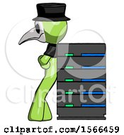 Green Plague Doctor Man Resting Against Server Rack