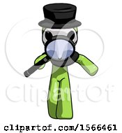 Green Plague Doctor Man Looking Down Through Magnifying Glass