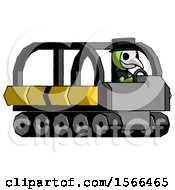 Green Plague Doctor Man Driving Amphibious Tracked Vehicle Side Angle View